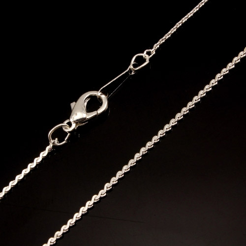 Chain, silver-plated steel, 1mm, 16-inch. Sold individually. #006