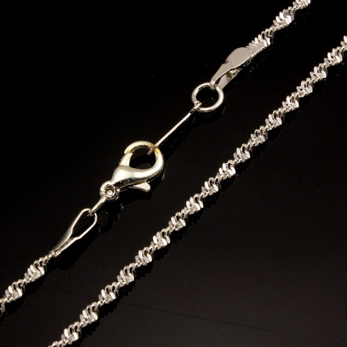 Chain, silver-plated steel, 2mm, 16-inch. Sold individually. #005