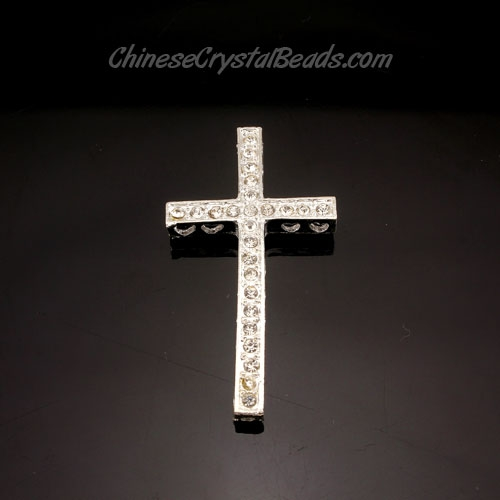 pave alloy cross, silver, 24x48mm, hole: 1.5mm, 1 pcs