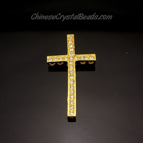 pave alloy cross, gold, 24x48mm, Pave