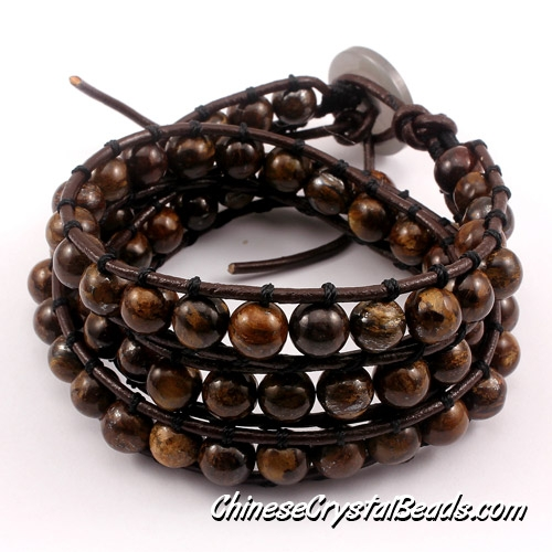 Beaded Leather Wrap Bracelet, 8mm Bronzite Round Bead