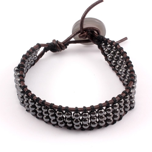 Beaded Leather Wrap Bracelet, 4mm hematite Round Bead