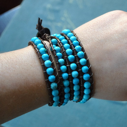 Beaded Leather Wrap Bracelet, 6mm turqouise Round Bead