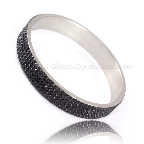 "Pave black Rhinestone Clay Based Bangle Bracelet, 1/2"" wide , stainless steel solid bracelet"