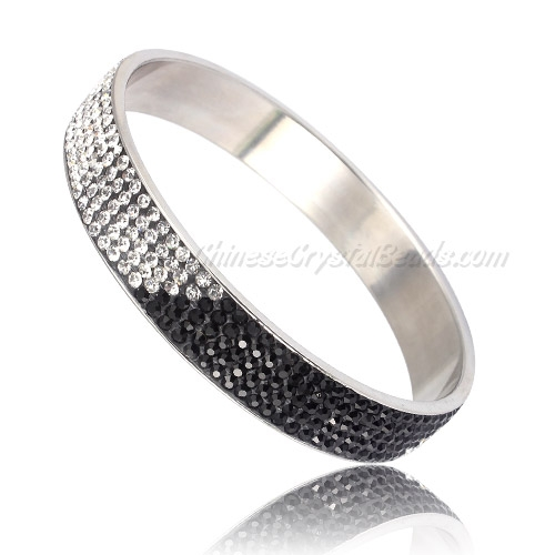 "Pave black white Rhinestone Clay Based Bangle Bracelet, 1/2"" wide , stainless steel solid bracelet"