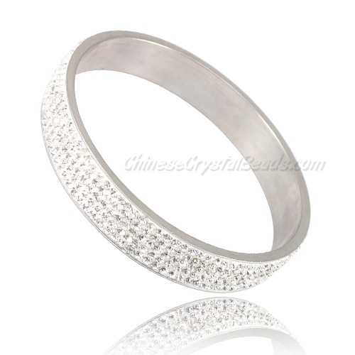 "Pave Crystal zircon Rhinestone Clay Based Bangle Bracelet, 1/2"" wide , stainless steel solid bracelet"