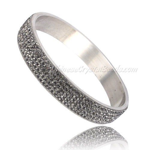 "Pave gray Rhinestone Clay Based Bangle Bracelet, 1/2"" wide , stainless steel solid bracelet"