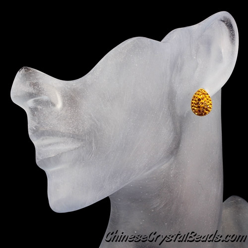 crystal pave clay earring, Teardrop earrings, 11x15mm, Amber, Sold per pkg of 1 pairs.