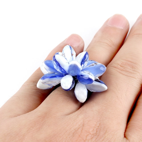 Handmade crystal flower ring, blue and white, Pave type, Sold individually.