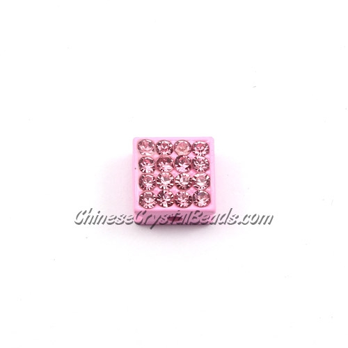 Pave square beads, 10mm, Pink, sold per 12 pieces bag