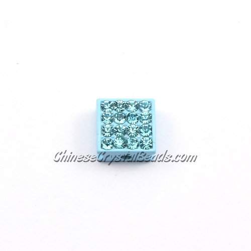 Pave square beads, 10mm,aqua, sold per 12 pieces bag