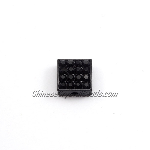 Pave square beads, 10mm, Black, sold per 12 pieces bag