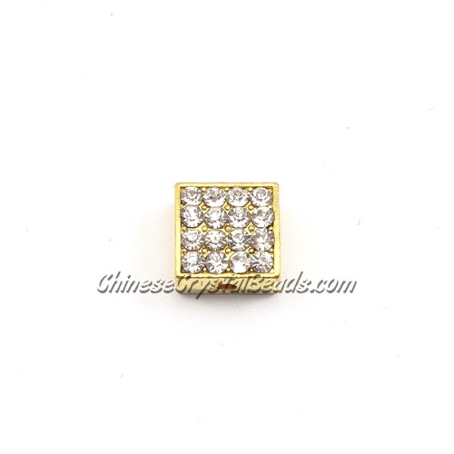 Pave square beads, 10mm, gold, sold per 12 pieces bag