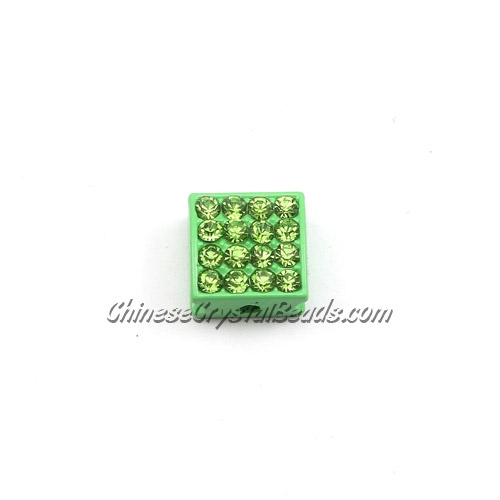 Pave square beads, 10mm, green, sold per 12 pieces bag
