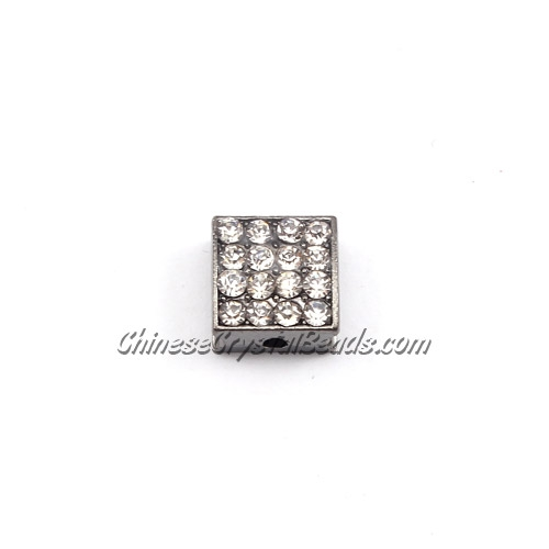Pave square beads, 10mm,gun metal, sold per 12 pieces bag