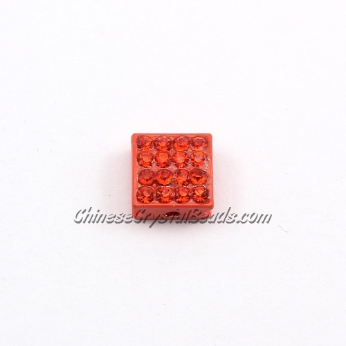 Pave square beads, 10mm,orange, sold per 12 pieces bag