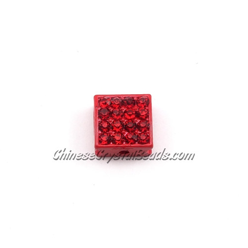 Pave square beads, 10mm, red, sold per 12 pieces bag