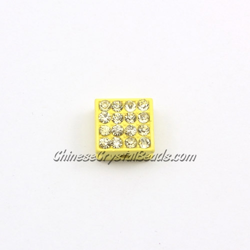 Pave square beads, 10mm, yellow, sold per 12 pieces bag