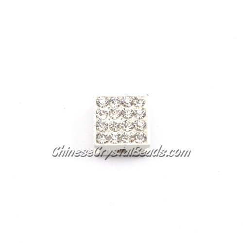 Pave square beads, 10mm, white, sold per 12 pieces bag