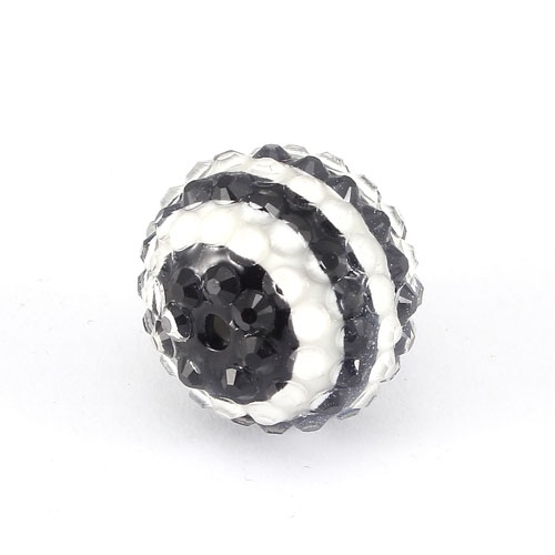 Chinese Acrylic Crystal Disco Bead, black white, 18mm(inside)x22mm(outside ) 6 beads