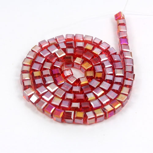 98Pcs 4mm Cube Crystal beads, siam AB