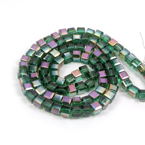 98Pcs 4mm Cube Crystal beads, emerald AB
