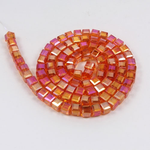 98Pcs 4mm Cube Crystal beads, tangerine AB