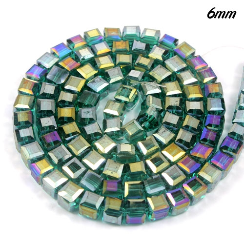 98Pcs 6mm Cube Crystal beads,emerald AB