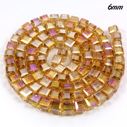 98Pcs 6mm Cube Crystal beads, G. champagne AB
