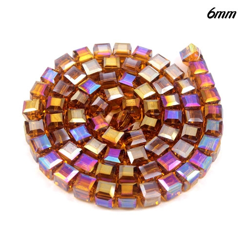 98Pcs 6mm Cube Crystal beads strand, Amber AB