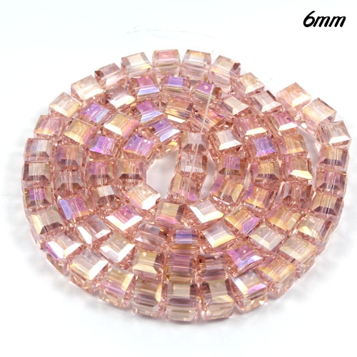98Pcs 6mm Cube Crystal beads, rosaline AB