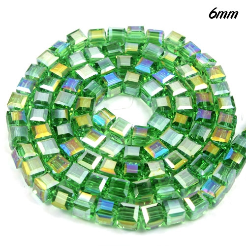 98Pcs 6mm Cube Crystal beads, fern green AB