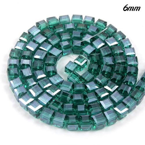 98Pcs 6mm Cube Crystal beads, emerald AB
