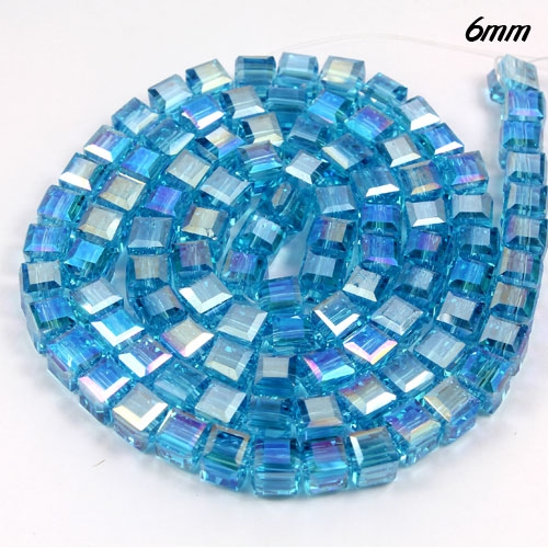 98Pcs 6mm Cube Crystal beads, aqua AB