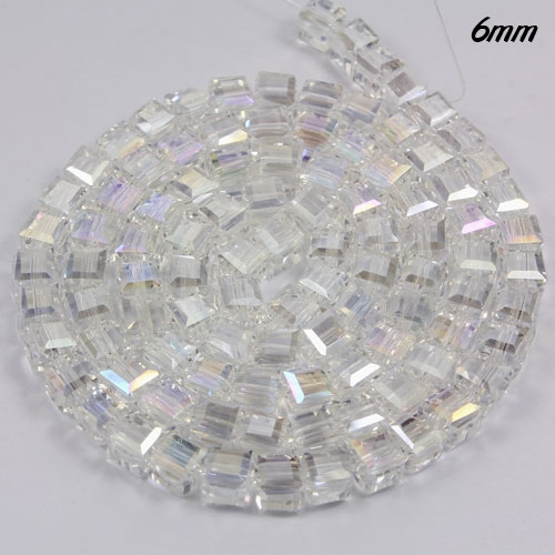 98Pcs 6mm Cube Crystal beads, Clear AB