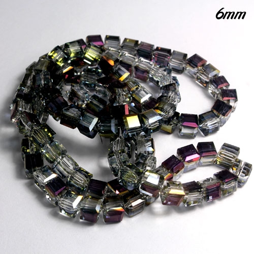 Cube Crystal beads, 6mm, emerald AB, sold about 50pieces per strand