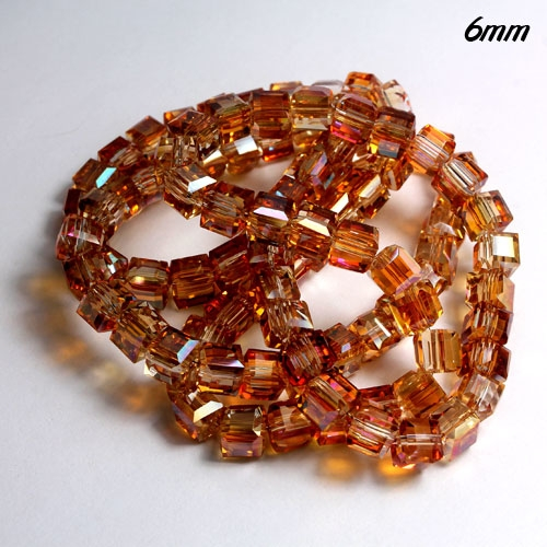 Cube Crystal beads, 6mm, new color 3, sold about 50pieces per strand