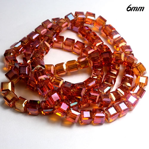 98Pcs 6mm Cube Crystal beads, yellow light