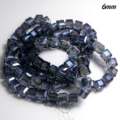 Cube Crystal beads, 6mm, Magic Blue, sold about 50pieces per strand