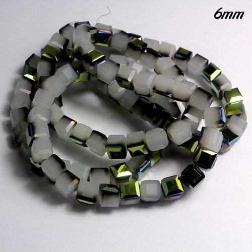 Cube Crystal beads, 6mm, white jade green light, sold about 50pieces per strand
