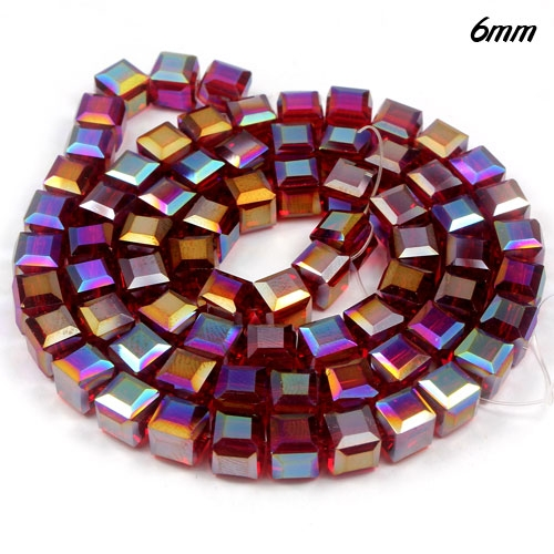 98Pcs 6mm Cube Crystal beads, Siam AB