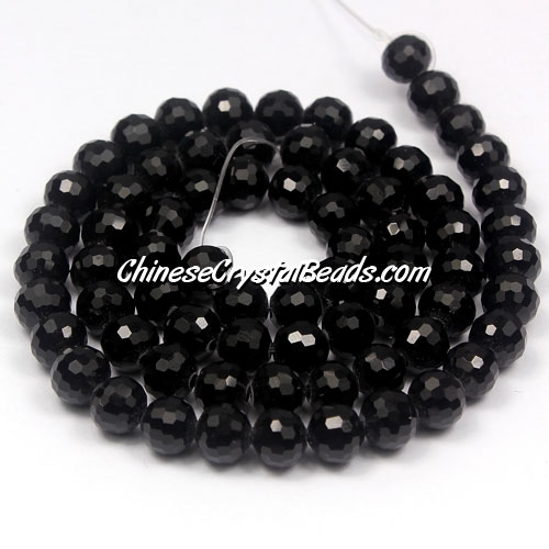 Crystal round beads, 8mm, 96fa, Jet , 25beads
