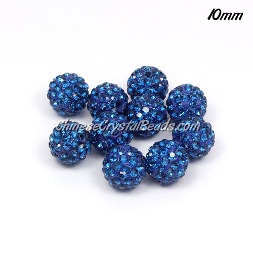 50pcs 10mm Pave (clay) disco beads, hip hop disco beads, capri Blue, hole: 1.5mm