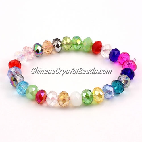 Crystal Bracelet, crystal rondelle 10mm, colour-mixture, sold individually. (not the same at every turn)