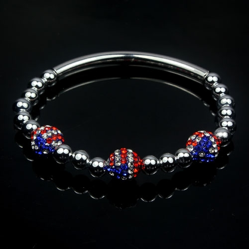 Crystal Bracelet, Clay USA flag, 6mm(CCB) beads , copper pipe