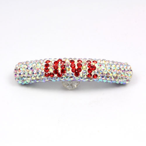 LOVE Pave beads, Pave Curved 52mm Bling Tube Bead, Clear AB, #004