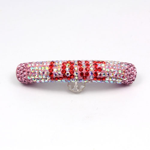 LOVE Pave beads, Pave Curved 52mm Bling Tube Bead, crystal AB , red love #005