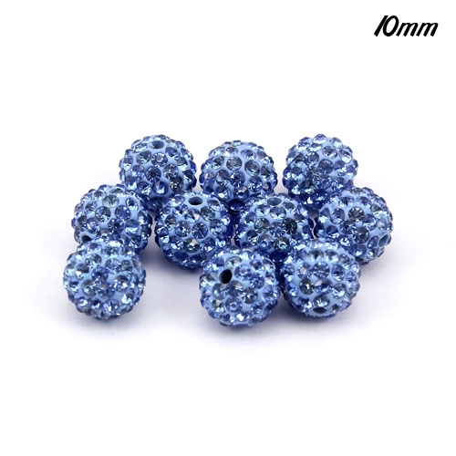 50pcs 10mm Pave Beads, clay, pave disco beads, Light sapphire, hole: 1.5mm
