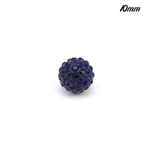 50pcs,10mm Pave Beads, clay, pave disco beads, dark bule,hole: 1.5mm