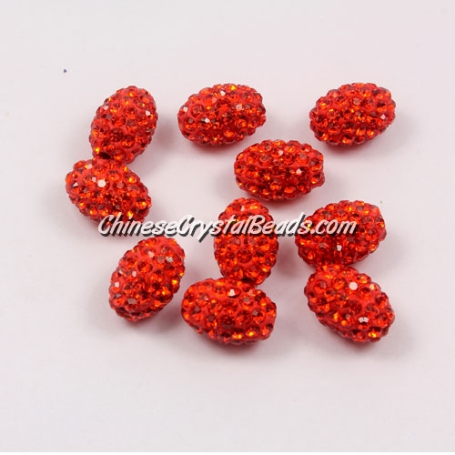 Oval Pave Beads, 9x13mm, Clay, orange, sold per 10pcs bag